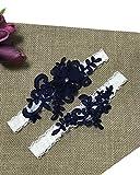 YuRong Bridal Garter Set Flower Beaded Garter Set Wedding Garter Plus Size G23 (Navy)