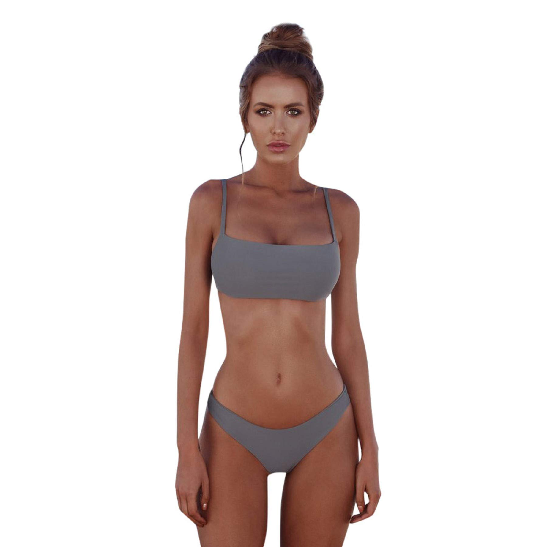 Womens Sexy Chic Solid Color Halter Bandeau Bikini Set Swimwear Bathing Suits Gray