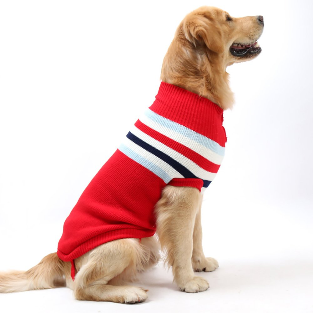 Red XL(Neck 14\ Red XL(Neck 14\ Fosinz Dog Warm Clothes Stripes Sweater Winter Clothing Vest Sweatshirt Coat Knitwear T-Shirt (XL(Neck 14 -16 ,Chest 16 -18 ,Length 20 -21 ), Red)