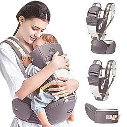 GBlife Porte Bébé Ventraux Ergonomique avec Siège à Hanche Poches en Coton Léger et Respirant 4 en 1 Multiposition pour Nouveau-né Bébé 0-36 mois 3.5-20kg (Gris)