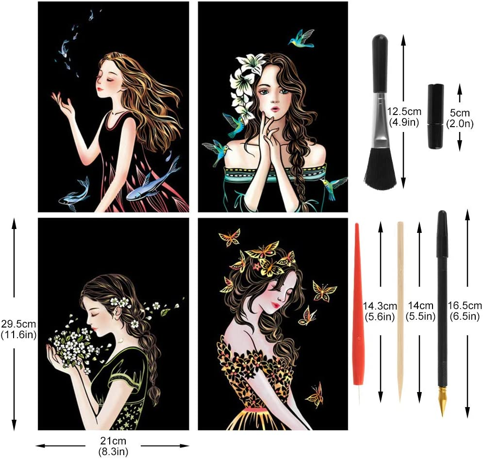 Night View Scratch Board for Adults and Kids 4 Packs A4 H06 Rubywoo/&chili Scratch Art Paper Kit for Kids DIY Scratch Paper Set for Kids