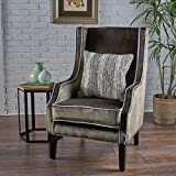 Edell Traditional Grey Velvet Two Toned Club Chair with Horizon Grey Accent Piping