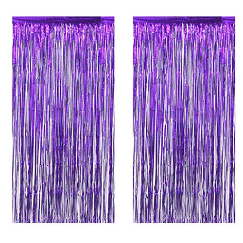 Intoy 2 Pack Purple Foil Fringe Curtains, 3 Feet Wide and 8 Feet Tall, Shimmer Tinsel Curtain Backdrop for Birthday Wedding Prom Party Decoration -
