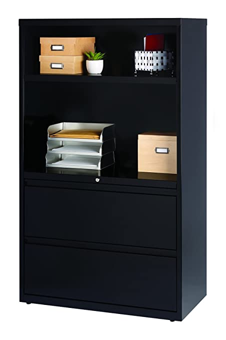 Merveilleux Hirsh Industries Metal Office Filing And Bookcase Storage Cabinet Combo    Black