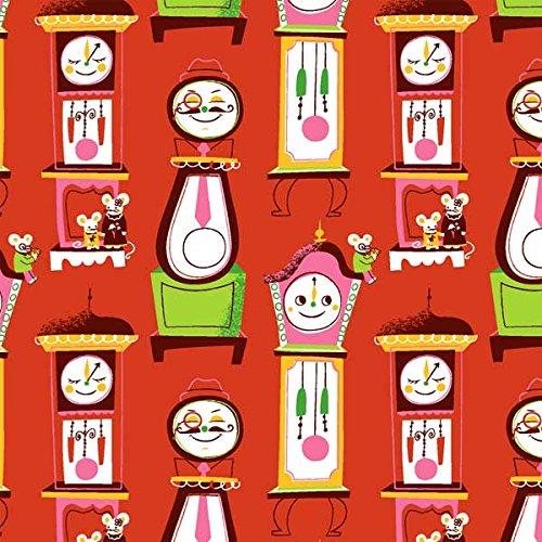 Nursery Rhymes Clocks Red Fabric By The Yard