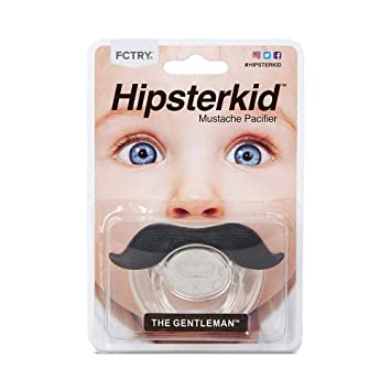 Hipsterkid BPA Free Mustachifier for Kids 0-6 Months in Gentlemen Black