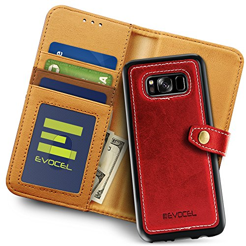 Galaxy S8 Wallet Case With Detachable Slim Case  Evocel  Renaissance Series  3 Credit Card   Id Slots  Cash Pocket  Premium Faux Leather  Magnetic Slim Case  For Galaxy S8  Sm G950   Red