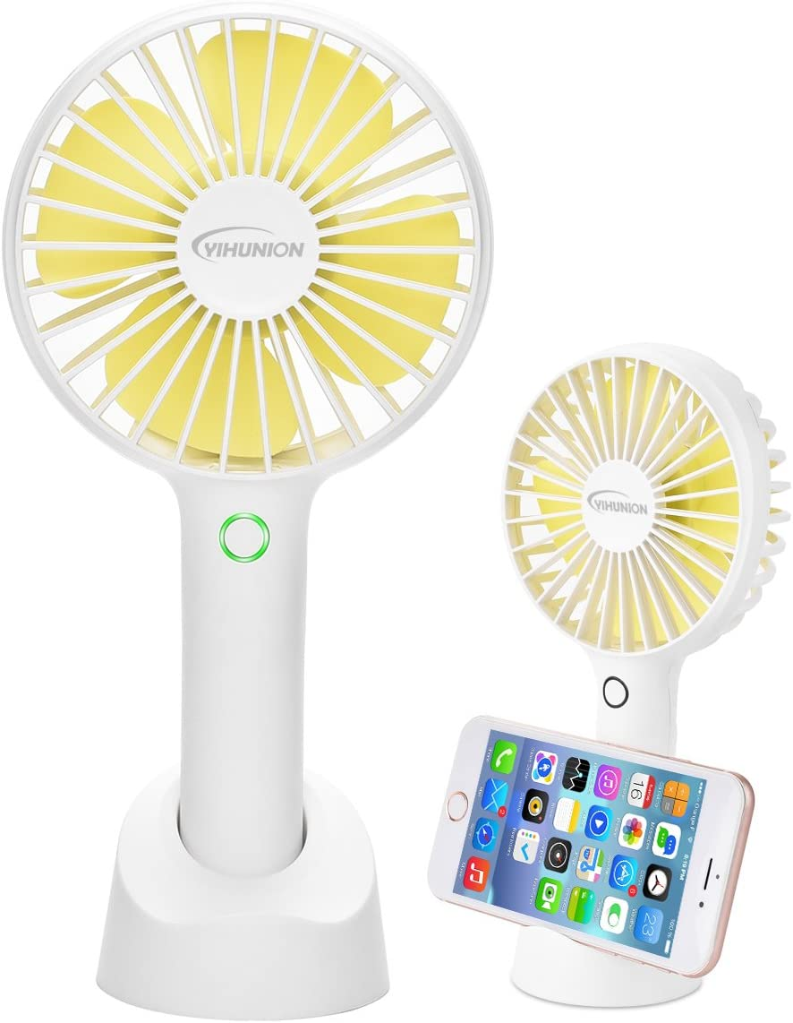 Mini Handheld Fan,SEOYO Personal Portable USB Rechargeable Battery Powered Fan with Base, 2500mAh Battery 4 Modes for Home, Office, Bedroom and outdoor White