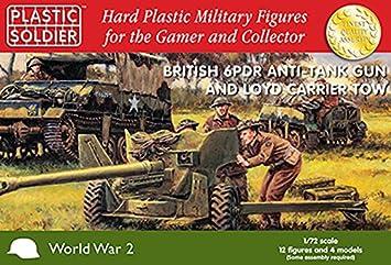 1/72 British 25pdr con CMP Quad Tractor PLASTIC SOLDIER CO 2 cannoni + 2 trattori + 28 miniature
