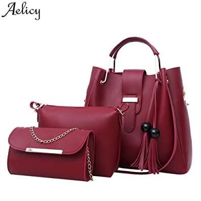 a62a6d1707a0 Amazon.com: Aelicy New 3pcs Leather Bags Famous Brand Tassel ...
