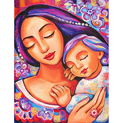 BeautyShe 5D DIY Diamond Painting Wall Sticker 5D Diamond Mosaic Cross Stitch Embroidery(Mother and Child)