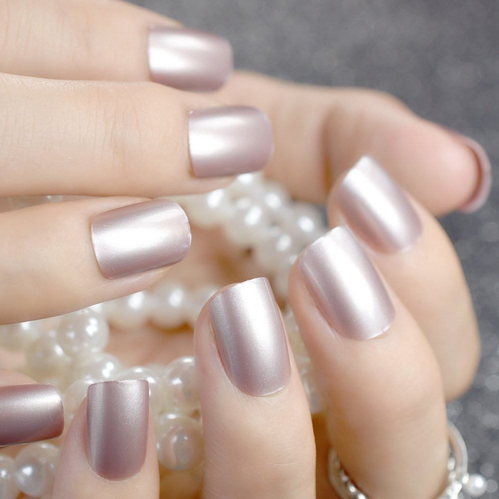 CoolNail Champagne Metallic Short False Nails Tips Pearl Frosted Feel Full Cover Artificial Fake Nail for