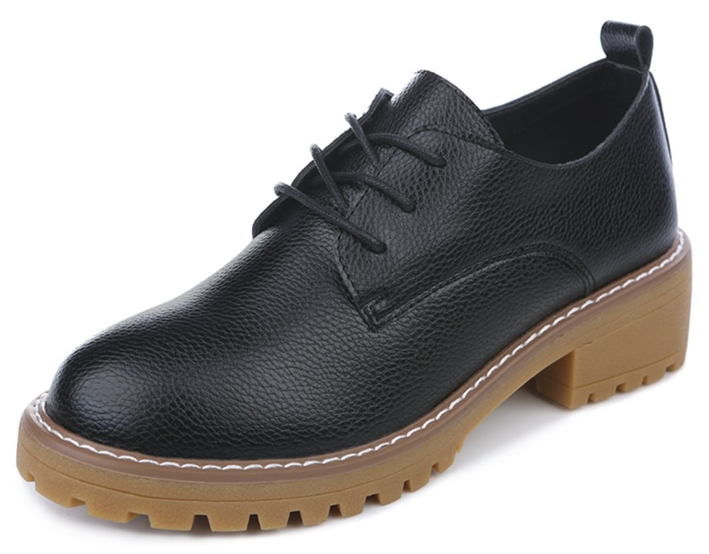 IDIFU Women's Classic Low Top Round Toe Mid Chunky Heel Lace up Oxfords Shoes Black 4 B(M) US