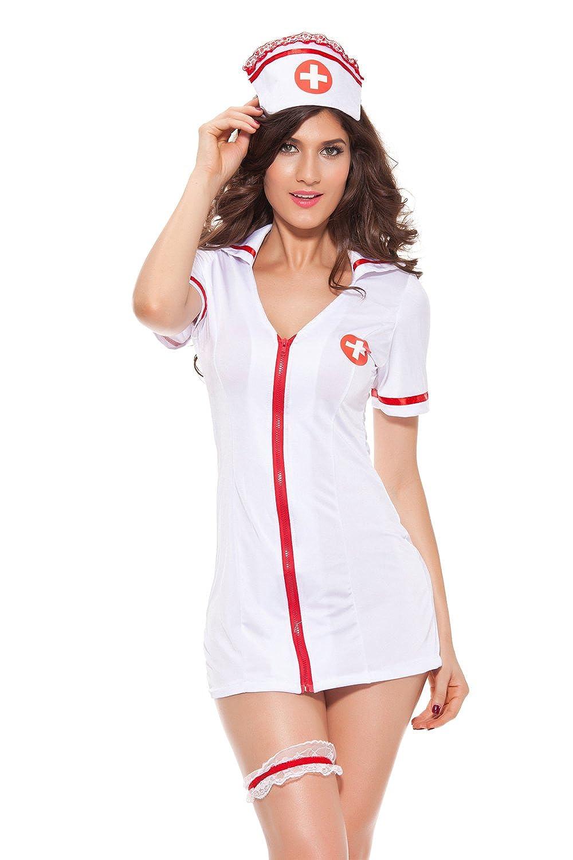 7359ecf7a75 Amazon.com  Nurse Cosplay - Naughty Nurse Outfit Lingerie Halloween Costume  White Nurse Uniform Sexy Nurse Dress  Clothing
