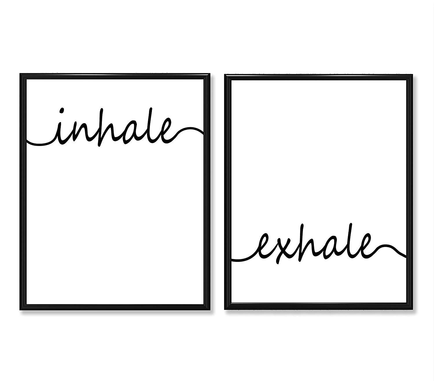 Inhale Exhale - Set of Two 11x14 Unframed Prints - Great Bathroom, Bedroom, Yoga Studio and Gym Decor and Gift Under $20