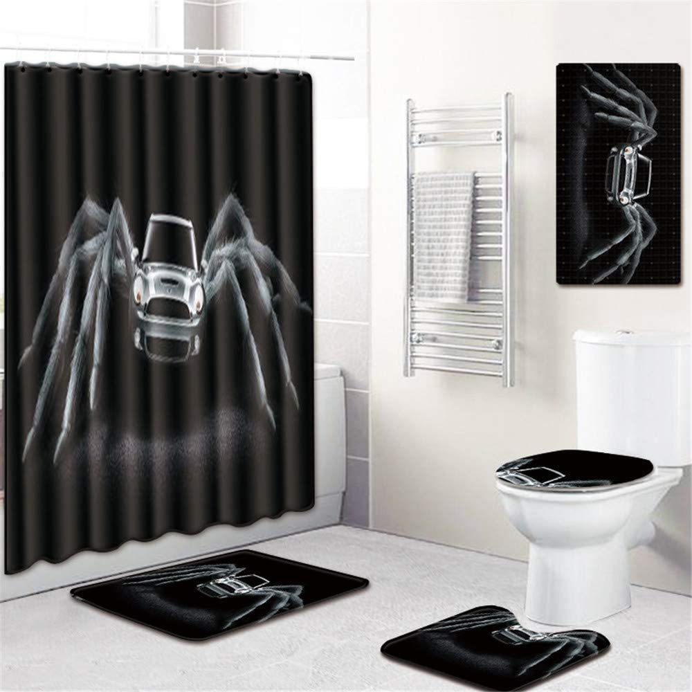 Space element Impresión 3D Araña Ducha Cortinas Mamparas De Baño Impermeable Cortinas para Baño Decoración 5 Unids/Set,A: Amazon.es: Hogar