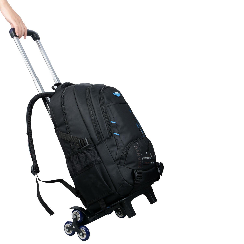 Bupin Zaino rotolante blu Scuola borsa,Tre ruote Trolley borsa per bambini e scolari Con ruote