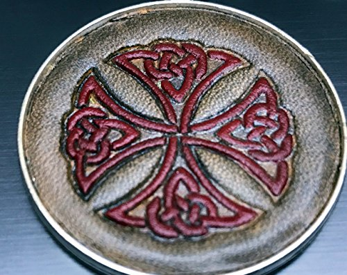 Red Celtic Cross Hand-Painted Tooled Veg Tanned Round Leather Silver Keychain