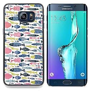 Stuss Case / Funda Carcasa protectora - Fish Rosa Azul Verde Patrón de Pesca - Samsung Galaxy S6 Edge Plus / S6 Edge+ G928