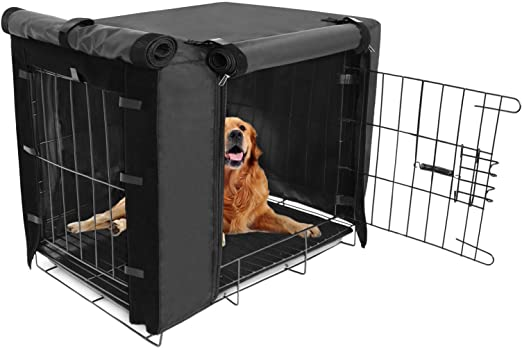 Durable Dog Crate Cover Double Door for Large pet Kennel Covers Universal Fit for 24 30 36 42 48 inches Wire Dog Crate (Black)