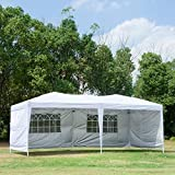 Easyzon 10 x 20FT Pop Up Patio EZ Canopy Tent Heavy Duty Gazebo Pavilion Outdoor Party Commercial Instant Tents Impact Canopies with Sidewalls, White