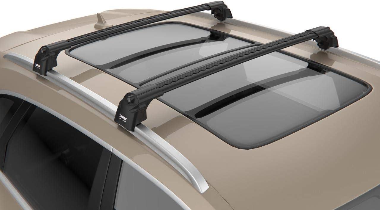 BLACK ROOF RACK CROSS BARS FLUSH RAILS LOCKABLE FOR KIA NIRO SUV 2016-ONWARDS