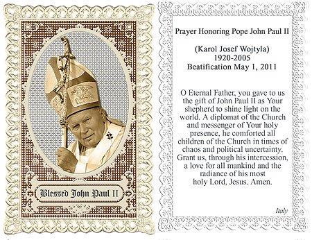 Pope John Paul Memorial Beatification Lace Holy Card