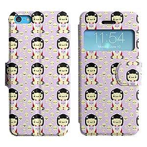 Be-Star Diseño Impreso Colorido Slim Casa Carcasa Funda Case PU Cuero - Stand Function para Apple iPhone 5c ( White Chinky Girl )