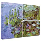 ArtWall 'Sea Roses' 3-Piece Flag Gallery-Wrapped Canvas Art by Claude Monet, 24 by 36-Inch