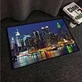 Kitchen Mat New York,NYC Midtown Skyline in Evening Skyscrapers Amazing Metropolis City States Photo,Royal Blue,W30 xL39 Rugs for Sale