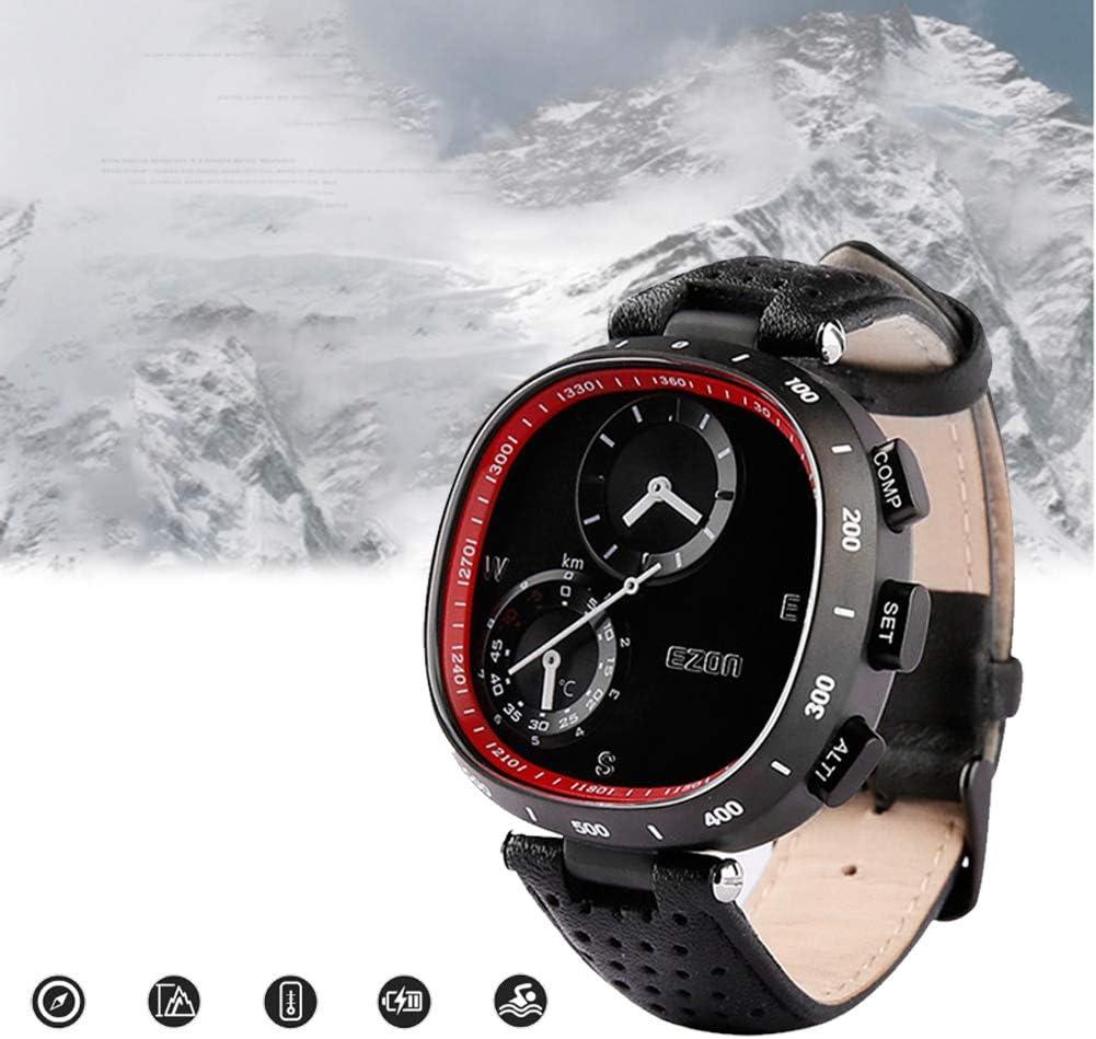 スポーツウォッチハイキング、電子時計男性、プロのPUストラップアウトドアアドベンチャー高度計バロメーターコンパス50m防水、ポインター多機能登山時計