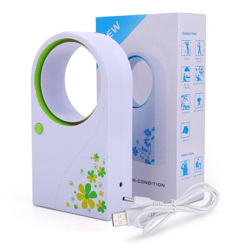 Yosoo Portable Mini USB 2.0 Handheld Flower Pattern Air Condition Bladeless Refrigeration Fans Desktop Cooler Mini USB Battery Powered No Leaf Air Conditioner (Green)