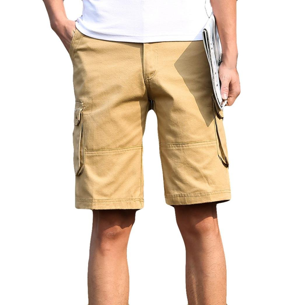 AMSKY Men's Fashion Classic-Fi tCasual Comfort Cargo Short with Pocket (29, Khaki)