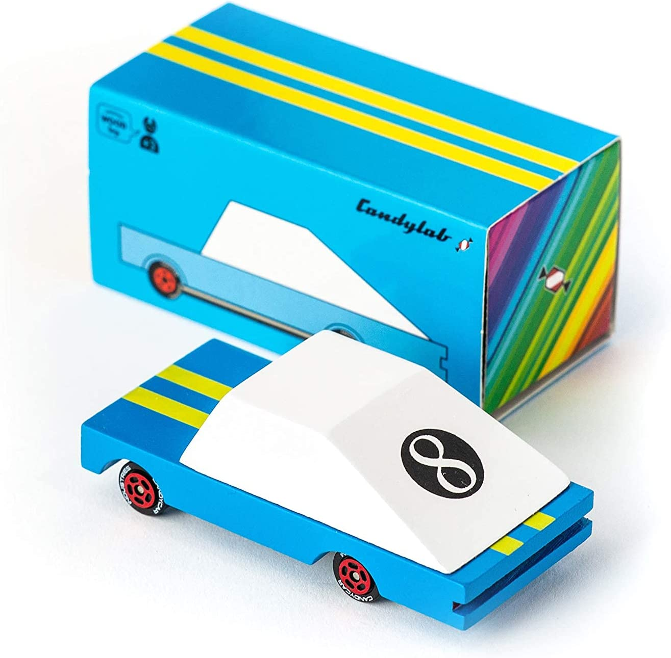 Candylab Toys Wooden Car, CandyCar Blue Racer, Kids Mini Toy Car, Solid Beech Wood