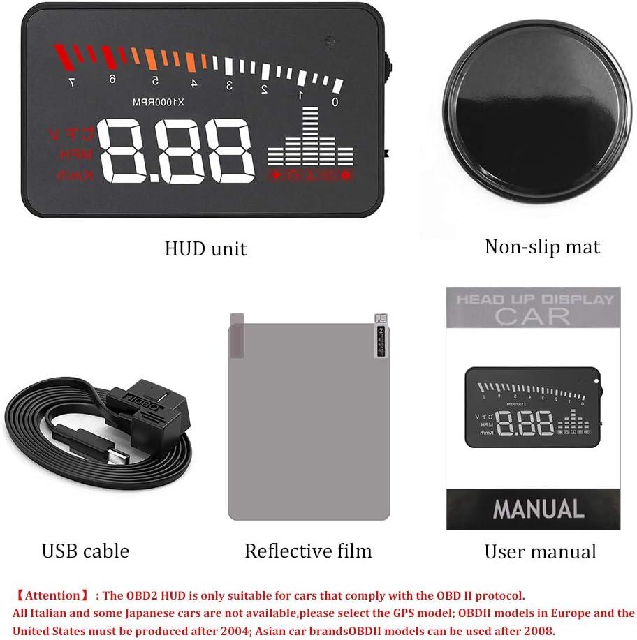 Car Windshield HUD,X5//X6 3inch OBD II OBD2 Multi-Function Vehicle-Mounted GPS Head Up Display Speedometer MPH//KMH Speed//Temp Warning Guage Dash Screen Projector X6