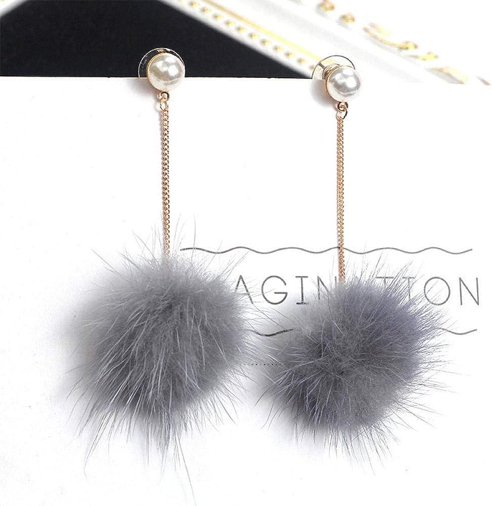 Pendientes colgantes de bola de pompón de esponja con encanto de perlas de imitación lindas de Corea