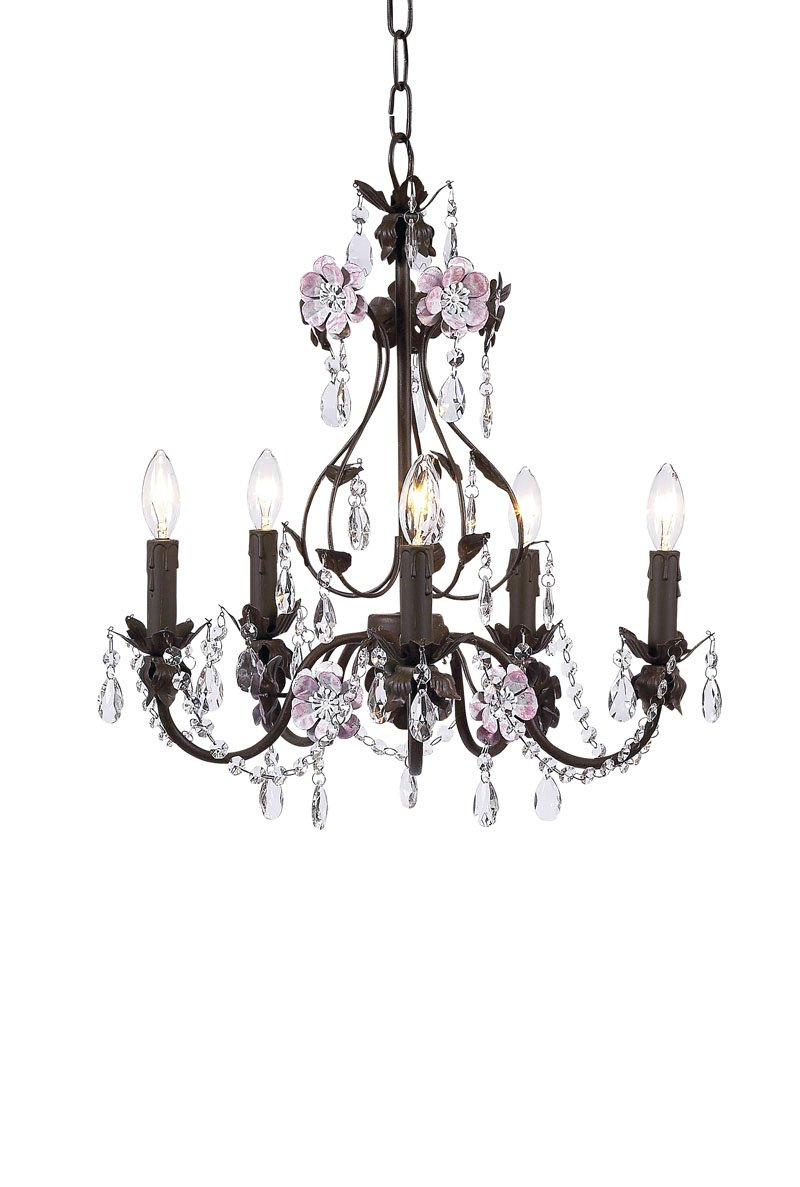 Jubilee Collection 7486 5 Arm Flower Garden Chandelier, Mocha/Pink