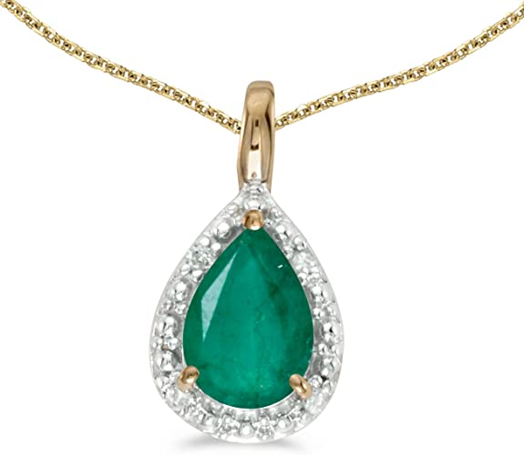 """14k Yellow Gold Pear Shaped Emerald and Diamond Oval Pendant with 18/"""" Chain"""
