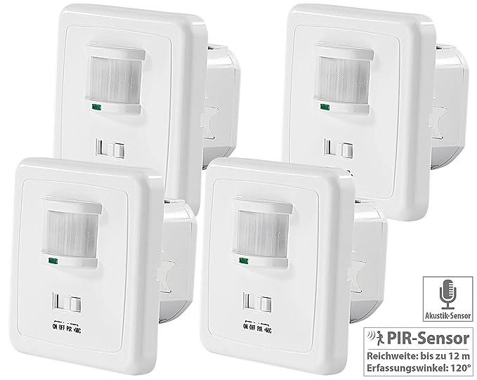 Revolt Juego de 4 interruptor de luz automática con sensor de PIR y acústica: Amazon.es: Iluminación