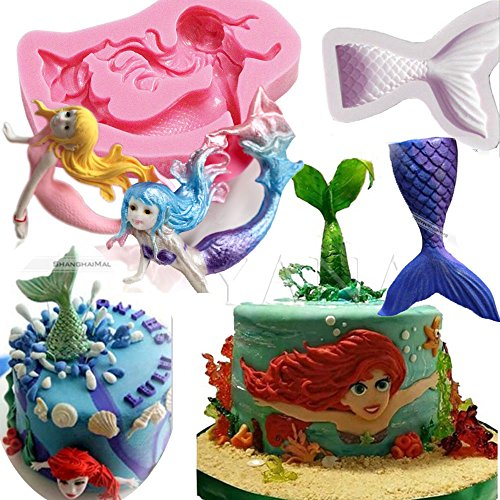 Anyana little Mermaid Tail sea creatures mould cake Fondant gum paste mold for Sugar paste gumpaste designer cupcake decorating topper decoration sugarcraft decor (Little Mermaid Cake Mold)