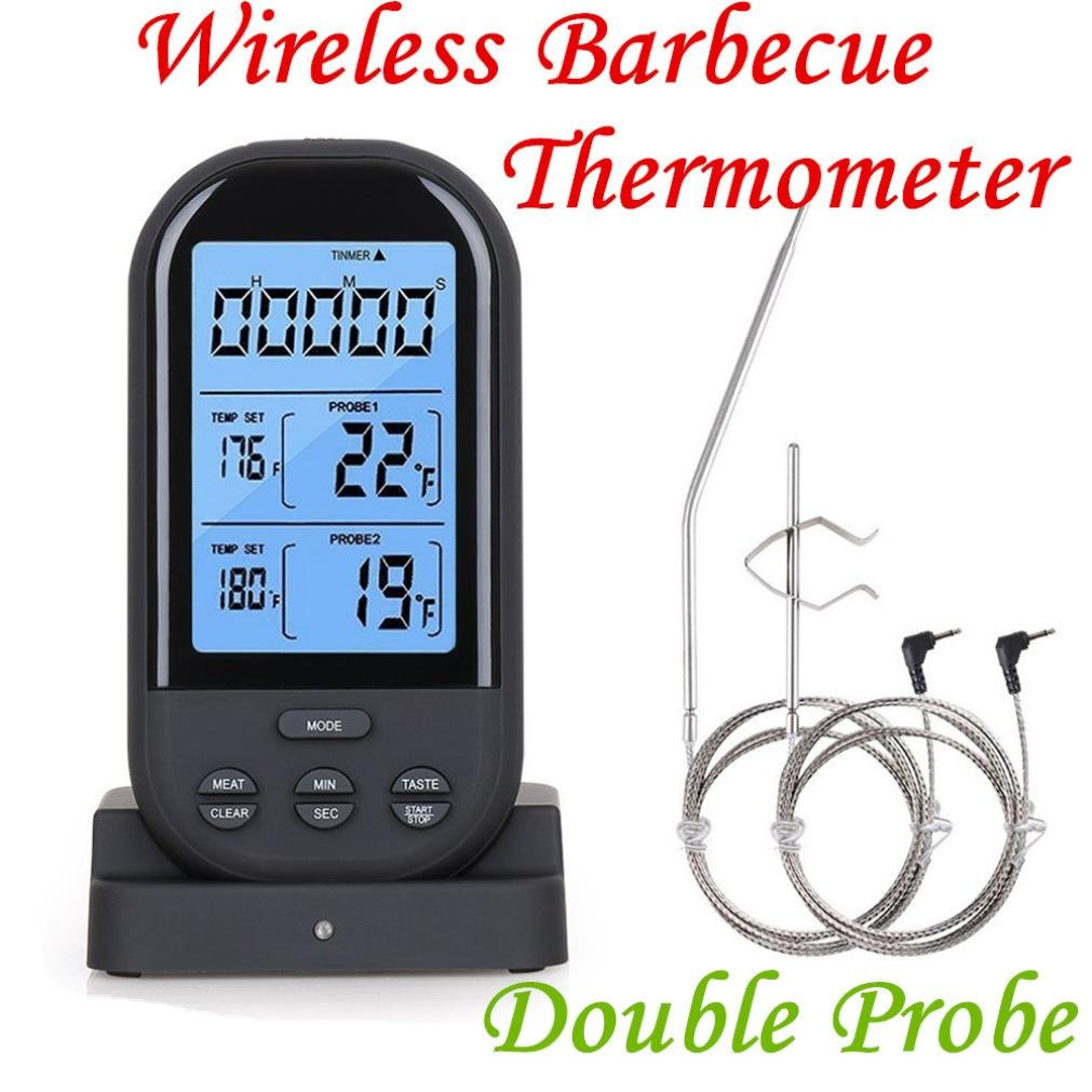 Inverlee New Wireless LCD Remote Thermometer for BBQ Grill Meat Kitchen Oven Food Cooking (Black)