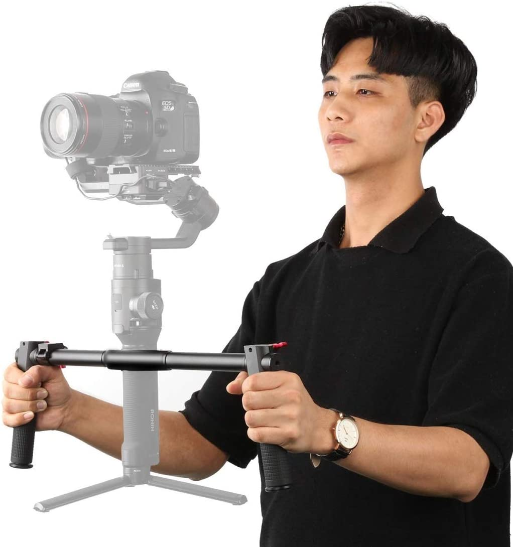 Color : Black Hyx Dual Handheld Grip Aluminum Alloy Stabilizer for DJI Ronin S Gimbal Black Camera Parts Accessories