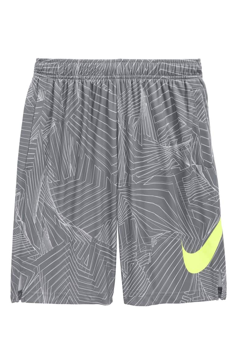 Nike Boy's Dry Fly All Over Print Training Shorts (Cool Grey/Volt, Small) by Nike
