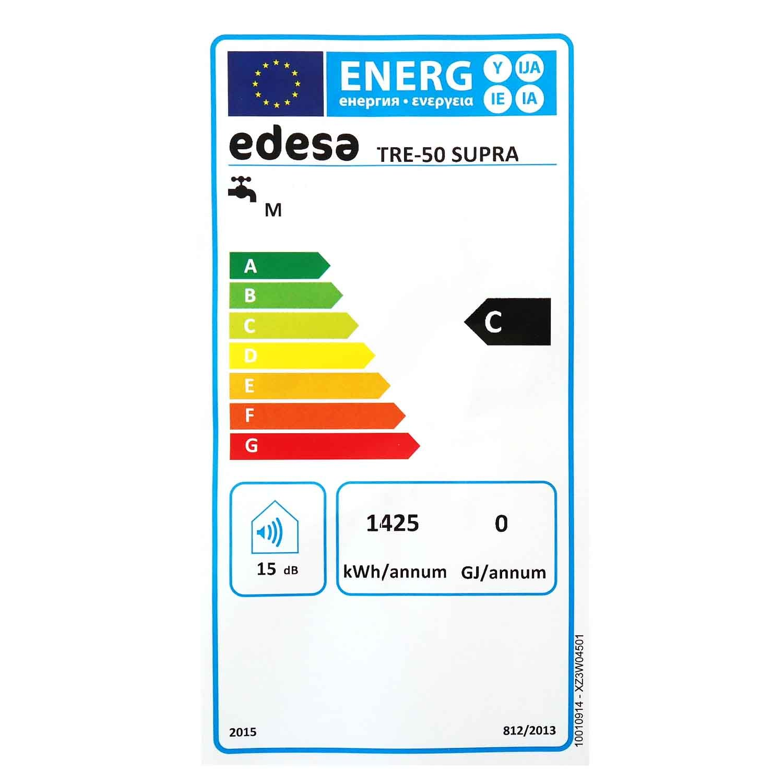 Edesa Tre de 50 L Supra Memoria 50 litros de agua caliente eléctrico Memoria calentador de agua Émbolo pared Agua Caliente/diámetro 38 cm/83 cm H/Potencia ...