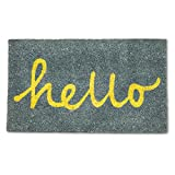 "Abbott 35-PFW/GE 6561 Collection Coir Grey and Yellow ""Hello"" Doormat"