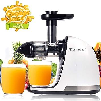 Licuadora Prensado en Frio, AMZCHEF Licuadora Frutas Verduras,Extractor de zumos con Función inversa,Motor Silencioso,fácil de limpiar con un cepillo ...