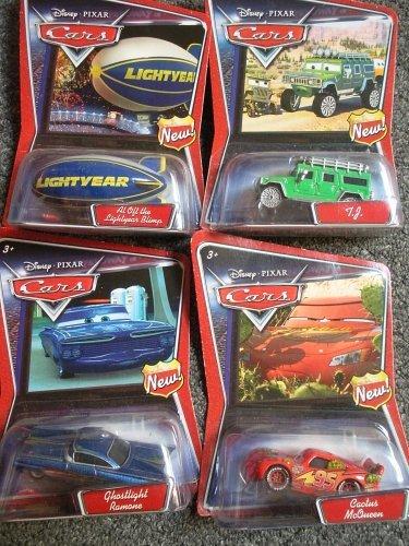 - Disney Pixar Diecast Cars Set of 4 - Lightyear Blimp - TJ - Ghostlight Ramone - Cactus McQueen - Walmart Exclusives, Wave 1