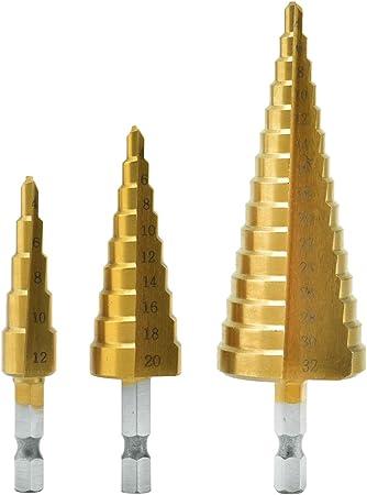 Z-overlord Juego de 3 brocas escalonadas HSS Pagoda drill 3//6 piezas de brocas c/ónicas 4-12//4-20//4-32 mm