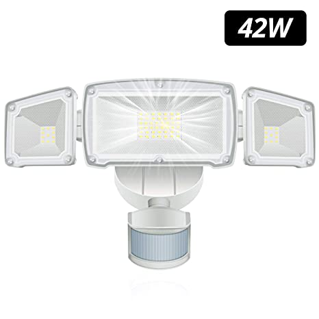 Funlove LED Flood Light Outdoor Motion Sensor Light 42W LED Security Lights with 3 Adjustable Heads