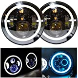 7 Inch 40W Jeep Wrangler Jk Tj Harley Davidson Near 30W Far 40W Car Motor LED Headligh Light with Blue Angel Eyes One Pair